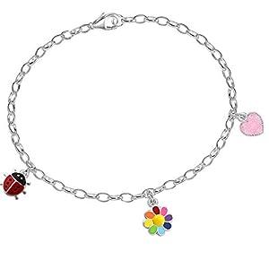 14-18cm Armband mit 3 Anhänger 925 Echt Sterling Silber Kinder Mädchen Damen Charm