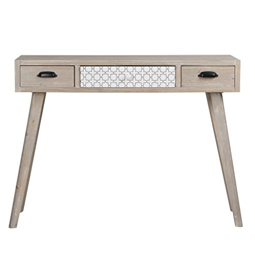 Viva home consolle in legno, 105 x 36 x 80 cm, credenza con design rustico, con 3 cassetti differenti, colore marrone chiaro