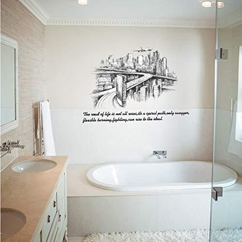 dasdjjhbh Stadt Skizze Silhouette Hintergrundbild Für Wohnzimmer Mode Wanddekoration Abnehmbare 60 * 90 cm Wandaufkleber Poster