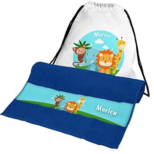 Eurofoto Handtuch + Turnbeutel Set mit Namen Marlen und Zoo-Tiere-Motiv für Mädchen   Handtuch und Turnbeutel Bedruckt  