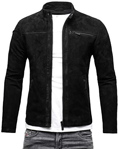 CRONE Epic Herren Lederjacke Cleane Leichte Basic Jacke aus weichem Schafs-Leder (S, Schwarz (Wildleder))