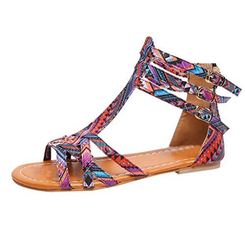 Louyihon-RöMer-Frauen National Wind Sandalen BöHmischen Stil Sandalen GroßE Kontrast Sandalen Sandals Saltwater Sandals Salt Water Damen Platform Fantasy(Multicolor) (Multicolor, 39)