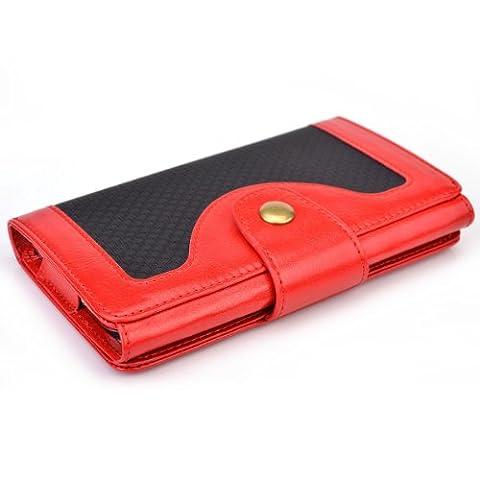 Cooper Cases(TM) Tatami Microsoft Lumia 535 / Dual Sim, 540 Dual Sim Smartphonehülle und Geldbörse in Rot (Zweifarbige Hülle, strukturiertes Webmuster, integrierter Bildschirmschutz, Kartenfächer, Ausweisfach,