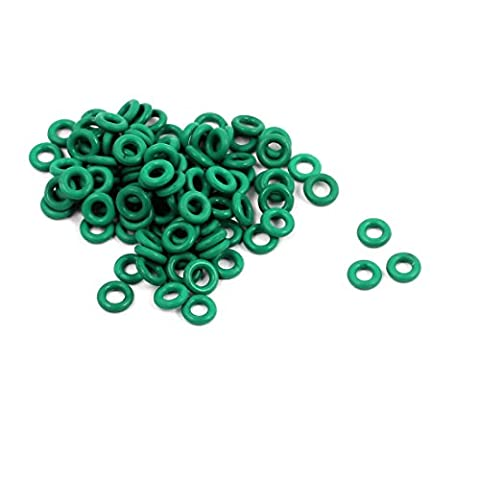 sourcingmap® 100pcs 4mm x 1mm FKM joints toriques en caoutchouc Anneau étanchéité résistant à chaleur verte passe-fils