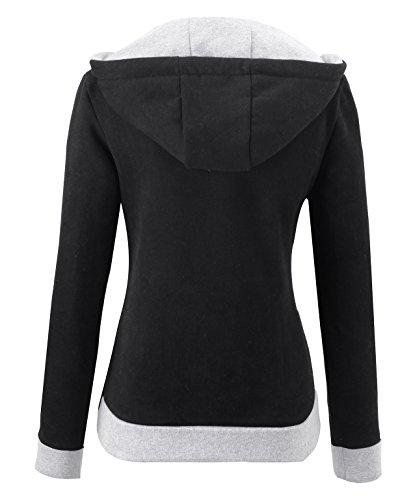 KorMei Damen Sweaters Hoodie Sweatshirt Langarm Schraeg Zipper Kapuzenpllover Schwarz