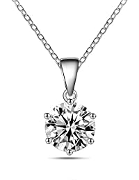 Abelini Certified 100% Natural Round Solitaire Diamond Pendant Necklace for Women (Available in 0.10-1.00ct & Yellow, White Gold & platinum)