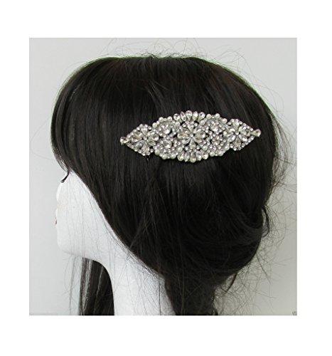 Long Peigne à cheveux à strass argent Diamante Perle Blanc Grand de mariée vintage R10 * * * * * * * * exclusivement vendu par – Beauté * * * * * * * *