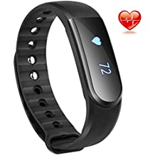 Fitness Tracker con monitor de frecuencia cardiaca, qimaoo Bluetooth 4.0inteligente pulsera pulsera deporte pulsómetro con podómetro actividad Tracker/paso Tracker/contador de calorías/Sleep Tracker Fit para Iphone IOS y Android Teléfono Smartphones, negro