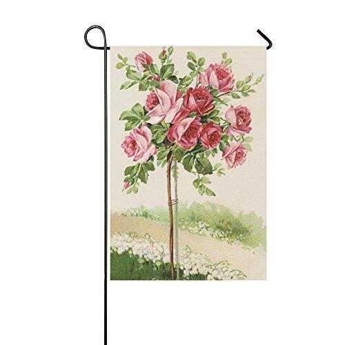(interestprint Vintage Blühende Rose Bush Lange Polyester Garten Flagge Banner Fahne Deko 30,5x 45,7cm, Muttertag für Hochzeitstag/für Home Outdoor Garden Decor)