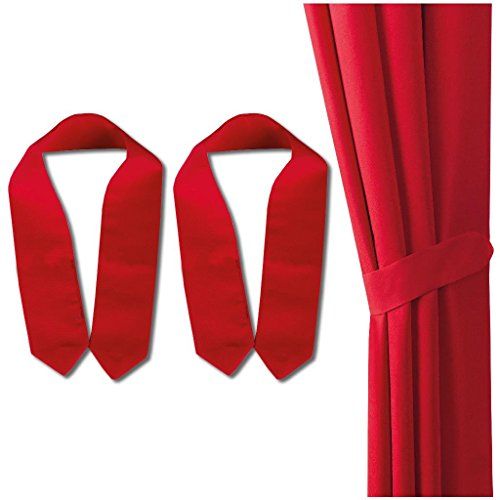 Dekoschal 2er Pack mit Schlaufen, Vorhang Gardine, Auswahl: 140 x 145 cm rot – salsa - 2