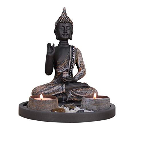 Buddha Sitzend mit Teelicht Deko-Statue