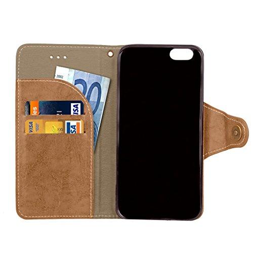 Apple iPhone 6 6S Hülle, SATURCASE Retro Business Stil PU Lederhülle Ledertasche Magnetverschluss Schnalle Flip Cover Brieftasche Case Handy Tasche Schutzhülle Handyhülle Hülle mit Standfunktion Karte Gold