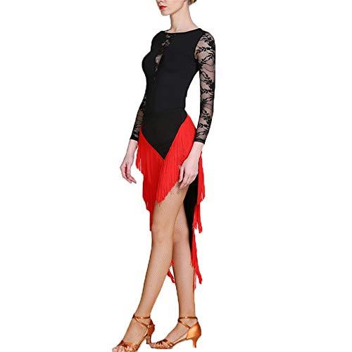 Wuxingqing Damen Jazz Latein Dance Kleid Frauen Fransen Quasten Ballsaal Samba Tango Latin Dance Dress Wettbewerb Kostüme Themen Party Swing Dress (Farbe : Rot, Größe : S)