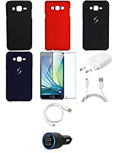 NIROSHA Tempered Glass Screen Guard Cover Case Charger USB Cable for Samsung Galaxy ON5 - Combo