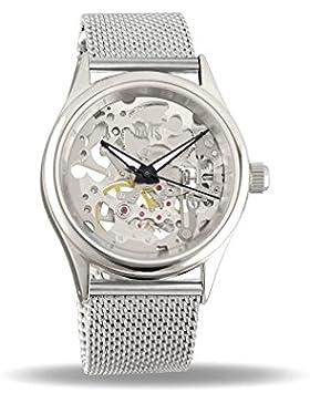 Davis 1680MB - Damen Skeleton Uhr Mechanisch Skelett mit sichtbarem Uhrwerk Mesh armband