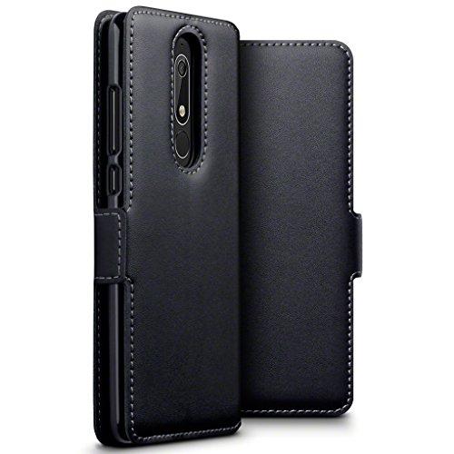 TERRAPIN, Kompatibel mit Nokia 5.1 Hülle, ECHT Leder Börsen Tasche - Ultra Slim Fit - Betrachtungsstand - Kartenschlitze - Schwarz