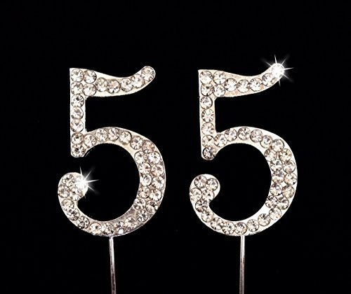 17 OFF On 55th Birthday Wedding Anniversary Number Cake Topper With Sparkling Rhinestone Crystals