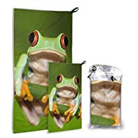 JOCHUAN Red Eyed Tree Frog On Branch 2 Pack Microfiber Beach Towels For Girls Kids Towel Set Fast Drying Best For Gym Travel Backpacking Yoga Fitnes