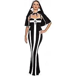 DuuoZy traje de monja de la mujer cosplay vestido de lujo conjunto , Black , one size
