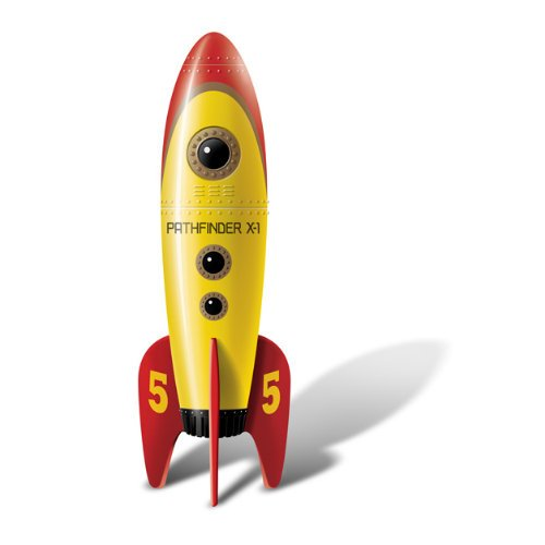 inder I - Retro Pocket Rockets - Vibrator in Form einer Rakete - ca. 12,7 cm lang, Ø ca. 3 cm - gelb / rot (Pocket-rocket Mini-massager)