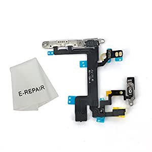 Power Volume Buttons Silent Switch Flex Cable with Brackets Preinstalled for Iphone 5s