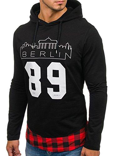 BOLF Herren Sweatshirt Pullover mit Kapuze mit Kordel Top AK72 Schwarz-Rot_0786