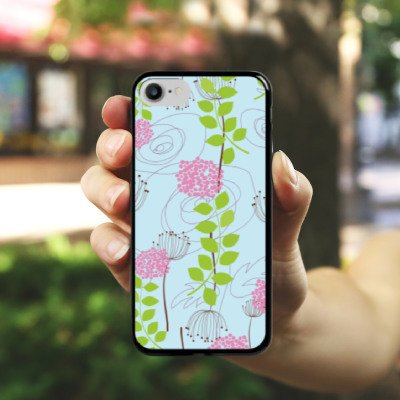 Apple iPhone X Silikon Hülle Case Schutzhülle Blumen Muster Ranken Hard Case schwarz