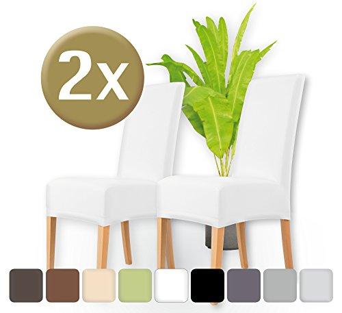 ENTSPANNO / Stuhlhussen 2er Set / elastische Stretch-Hussen Stuhl / Überzüge für Stühle / Baumwolle mit Einlaufschutz / edle Stuhlbezüge (Weiss) (Stretch-knit Cover)