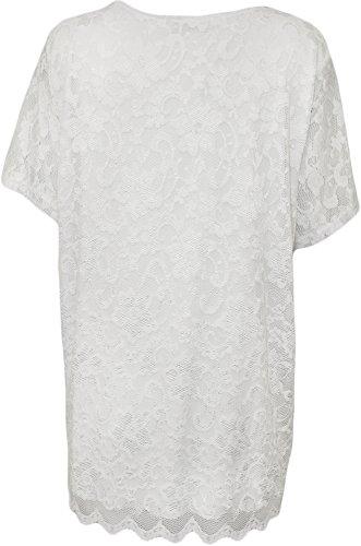 WearAll - Übergröße Damen Spitze Gefüttert Kurzarm T-Shirt Top - 7 Farben - Größen 42-56 Weiß