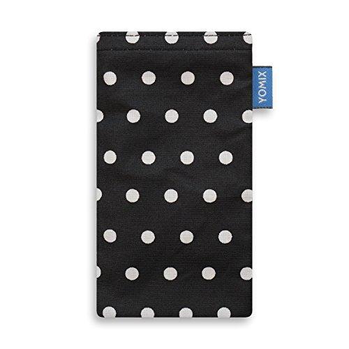 YOMIX Handytasche | Tasche | Hülle STELLA für Apple iPhone 8 aus Cordstoff mit genialer Display-Reinigungsfunktion durch Microfaserinnenfutter GUNILLA schwarz