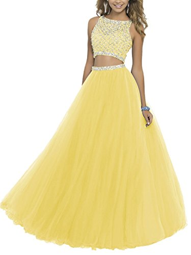 Fanciest Damen Beaded Two Pieces Ball Kleider 2016 Tulle Party Kleider Yellow