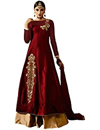AnK Women's Tapeta Dress Material (Maroon@Gold_Free Size_Red)