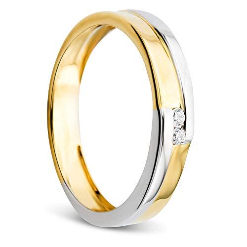 Orovi Damen Ring Bicolor Gelbgold und Weißgold 0.03 Ct Diamant Verlobunsring Ehering Trauring 14 Karat (585) Gold und Diamanten Brillanten