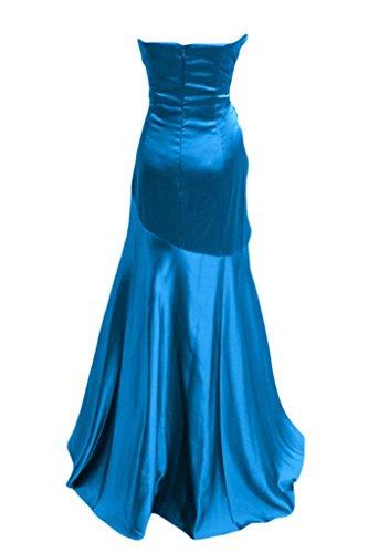 Sunvary Robe Longue Robe de Soir¨¦e Robe de Bal Robe de Party ¨¤ la Mode Sir¨¨ne sans Bretelles Col en C?ur avec Faux Diamants en Satin Bleu