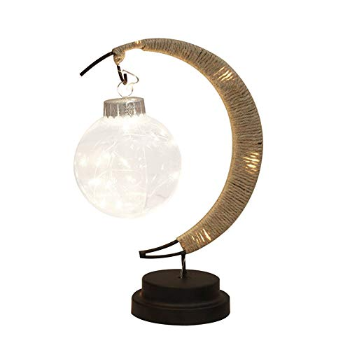 Lámpara LED de mesa con forma de luna, decorativa, hecha a mano ...