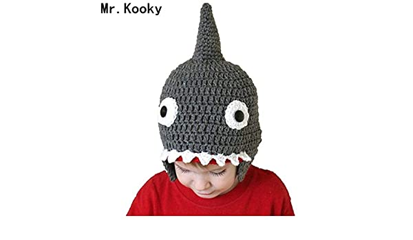 5e99f6adeb3 Elvy Mr.Kooky Autumn Winter Handmade Crocheted Children Shark Attack Cute  Cool Beanie Boy Girl Caps Halloween Funny Hats Shower Gifts  Amazon.in   Clothing   ...