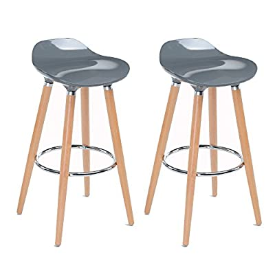 Set of 2 Bar Chairs Grey with Footrest Wooden Frame - Jasmine Bar Stools produced by Navy Blue Furniture - quick delivery from UK.