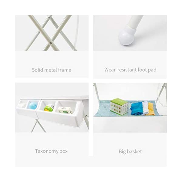 Baby Changing Table Baby Storage Bath Tub Unit Station Dresser Foldable Cross Leg Style AA-SS-Baby Changing Table 【Two in One Design】This baby changing table can be used as baby massaging table as 【Stable Construction】Non-skid feet covers and a sturdy frame keep the table stable and prevent movement. 【Waterproof Material】The surface of the top table is made of durable and wearable Oxford cloth and it can be used for a long period. 14