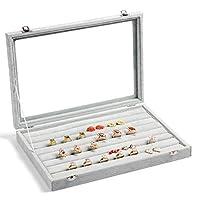Zice Velvet Glass Ring Jewelry Box Organizer Jewelry Rings Display Tray Earring Storage Case