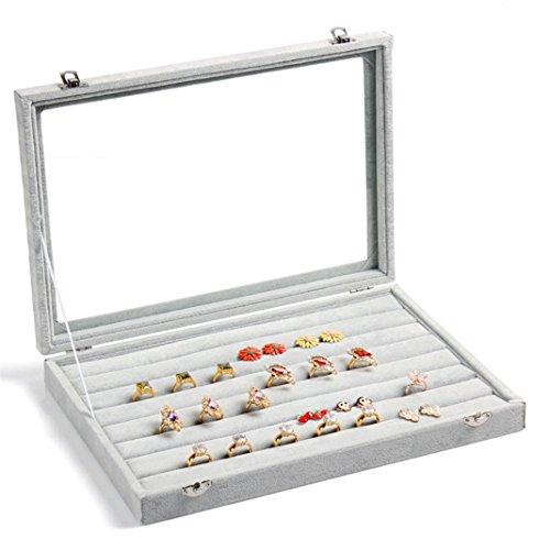 Zice Schmuckbox aus Samt mit Glasdeckel, Organizer für Schmuck, als Anzeigentablett oder Aufbewahrungsbox Ring-grey