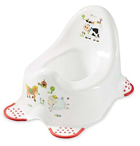 OKT kids Funny Farm Toddler Steady Pot pour WC/d'apprentissage de la propreté Fille/Garçon 2ans + Antidérapant en plastique solide Capacité de 100kg léger et portable 100% sans BPA Plastique Blanc/rouge