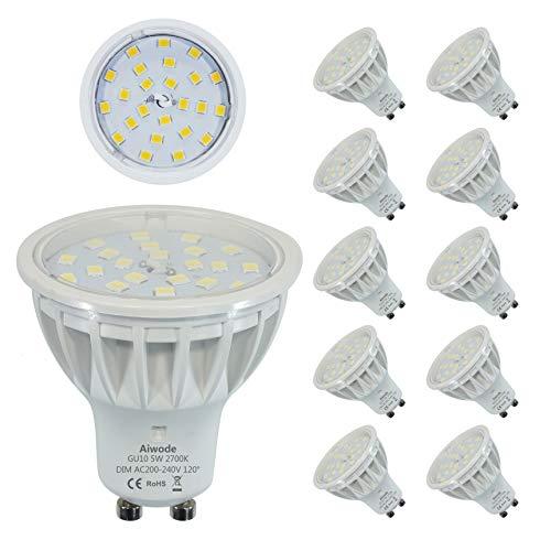 Dimmbar LED GU10 Lampen Scheinwerfer Ersetz 50W Warmweiß 2700K RA85 600LM 120°Abstrahlwinkel,10er Pack. -