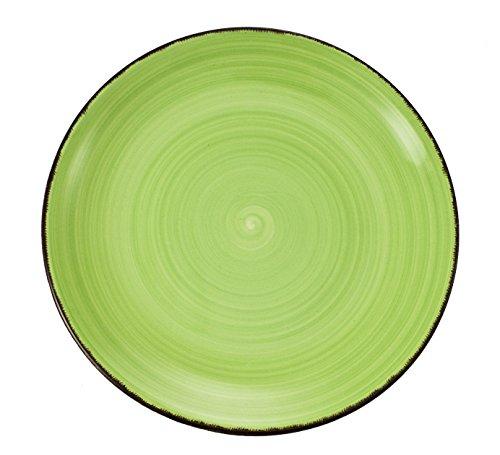 Villa d'Este Baita Juego de 6 Platos de Postre de Gres Esmaltado Pintado a Mano, en Verde