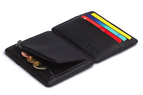 Design Magic Wallet Geldbörse mit Münzfach und RFID / NFC Schutz – Premium Portemonnaie mit Magic-Flip Funktion – Geldklammer mit Kleingeldfach – Kleiner schlanker Geldbeutel in schwarz (Card Leder Flap Wallet)