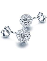 Fashmond- Boucles d'oreilles boules shamballa- Argent 925 et pierres en oxyde de zirconium- Idée Cadeau Anniversaire