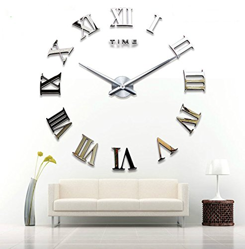 Alicemall diy moderno 3d wall clock orologio da parete numeri romani orologio digitale e componibile acrilico specchio decorativo superfici adesivo per casa ufficio hotel ristorante ottimo regalo