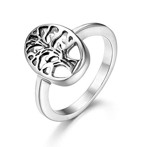 JewelryWe Schmuck Damen-Ring, Edelstahl Lebensbaum Baum des Lebens Hollow Versprechen Jahrestag Engagement Ring, Silber, Größe 59, kostenlose Gravur (5 Schmuck Unter Lebens Baum Des)