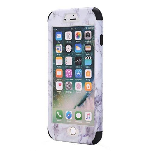 3 in 1 Vollständige Schutzhülle für iPhone 7 plus (5,5 Zoll), Cuitan Marmor Muster PC + Silikon 360° Komplettschutz Vorder- und Rückseiten Schutz Schale Stoßfest Vollschutz Hülle Case Cover Handytasch Schwarz