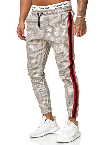 Herren Hosen (OneRedox Herren | Jogginghose | Trainingshose | Sport Fitness | Gym | Training | Slim Fit | Sweatpants Streifen | Jogging-Hose | Stripe Pants | Modell 1226 (L, Grau Rot))