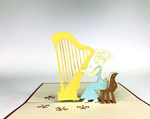 Harfe Musik 3D Pop-Up-Karte Geburtstag Grußkarte Mercedes-Benz Auto Jahrestag Baby Happy Geburtstag Ostern Mutter Thank You Valentine 's Day Hochzeit Kirigami Papier Craft Postkarten (Day-karte-autos Valentines)